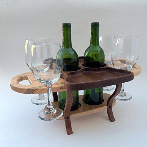 (Wood wine bottle caddy, wine rack table, wine bottle holder, 4 wine glasses, 2 wine bottles)