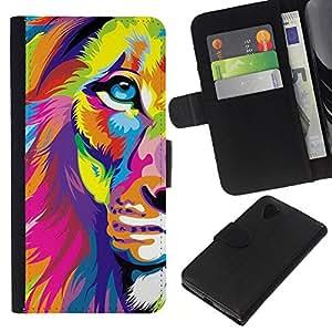 A-type (Poster Art Colorful Vibrant Magenta) Colorida Impresión Funda Cuero Monedero Caja Bolsa Cubierta Caja Piel Card Slots Para LG Nexus 5 D820 D821