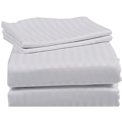 "4PC Sheet Set 18/""Deep Pocket All Sizes Stripe Colors 1000TC Best Egyptian Cotton"