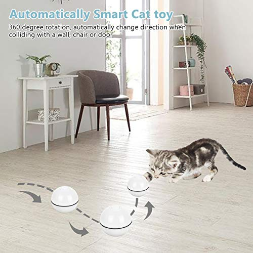 SHU UFANRO Cat Toys Ball Smart Interactive Cat Toy Automatic 360 Degree Self-Rotating Ball USB Rechargeable Build-in Spinning LED Light Pet Toy for Indoor Kitty Exercise Toys 6