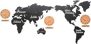 WINGOFFLY Creative DIY Home Decoration World Map Wall Clocks World Time Hanging Clocks (Black 53