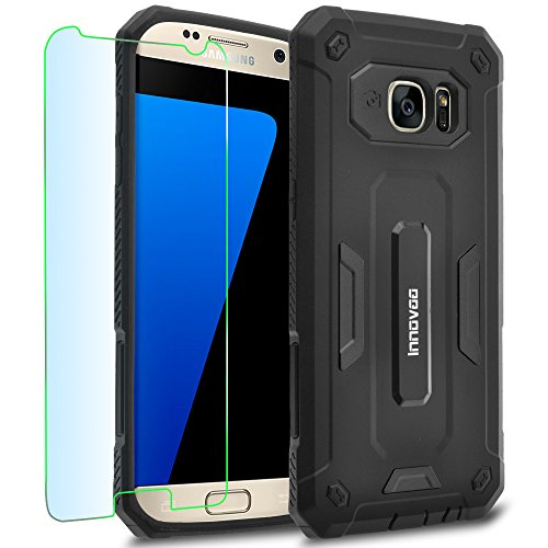 Samsung Galaxy S7 Edge / G935 Case, INNOVAA Receptacle Armor Case (Not Compatible with Samsung Galaxy S7 & S7 Active) W/ Free Screen Protector & Touch Screen Stylus Pen - Black