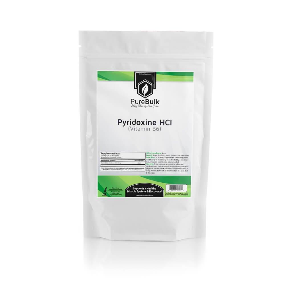 PureBulk Pyridoxine HCl (Vitamin B6) Container:Bag Size:500g Powder