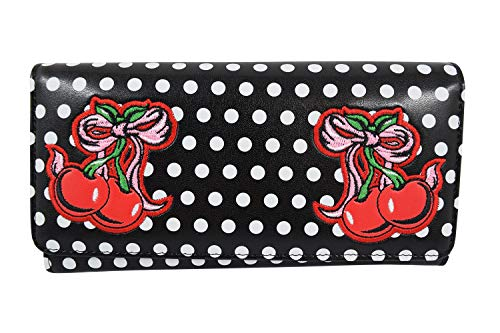 Polka Dot Cherries Snap - Lost Queen Rockabilly Pin-up Cherry Polka Dot Wallet - Lucille Wallet