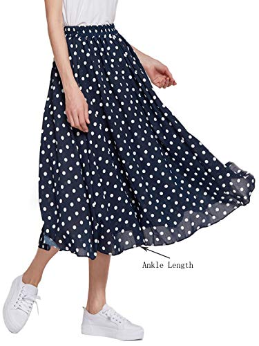 Amormio Women's Cute Polka Dot Printed Chiffon A-Line Swing Boho Long Maxi Pleated Skirts (Modest navyblue, -