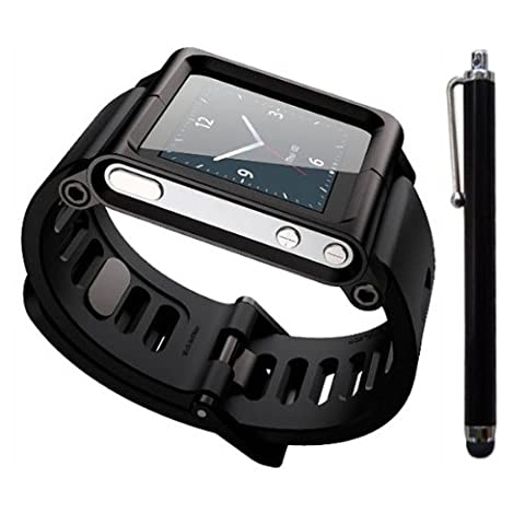 SQdeal Collection iPod Nano 6th Gen Wrist Strap Watch Band Case w/ Adjustable length Function, with Touch Pen (Ipod 6th Generation Strap)
