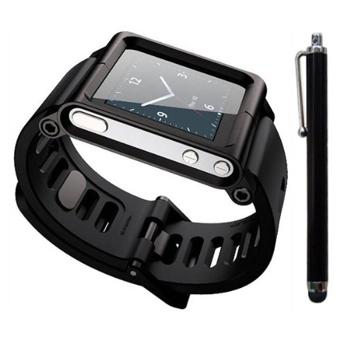 SQdeal Collection iPod Nano 6th Gen Wrist Strap Watch Band Case w/ Adjustable length Function, with Touch Pen (Black)
