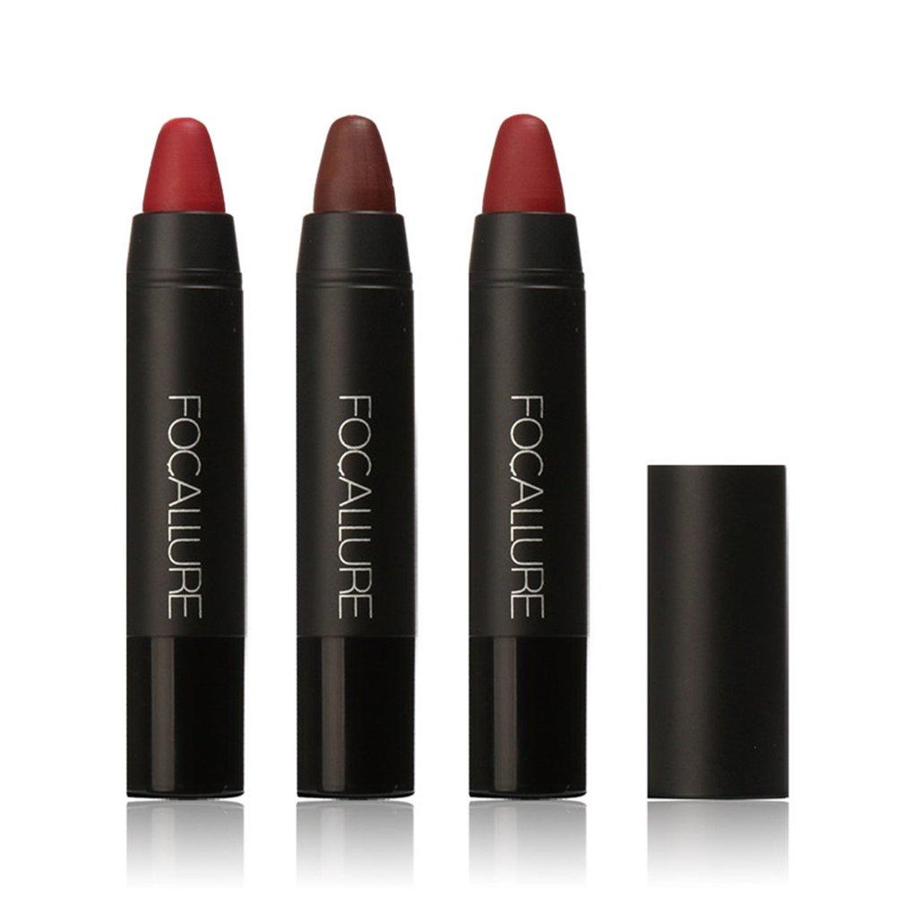 FOCALLURE 3Pack Matte Lipstick Kit Pencil Lip Crayon Waterproof Lasting-KIT 1 Per