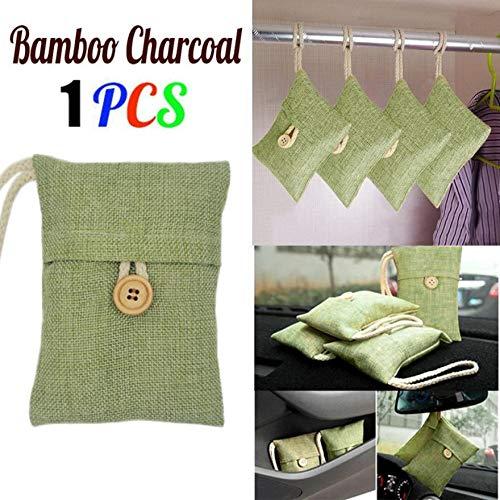 Iuhan  Natural Bamboo Charcoal Air Purifying Bag, Natural Air Freshener, Eco Friendly Odor Eliminator for Cars, Closets, Bathrooms, Pet Areas (Green)