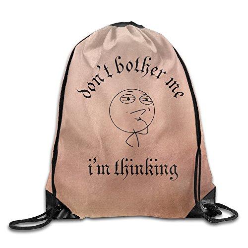 ZARRHOUSE Sack Bag I'm Thinking Don't Bother Me Cute Beam Bags Men's Women's Print Shoulder Drawstring Bag Backpack String Bags School Rucksack Gym Handbag 16.9