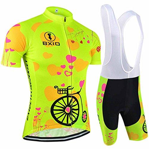 BXIO Women Cycling Sets Brand Bicycle Short Sleeve Road Bike Clothing Pro Team Uniform Roupas De Ciclismo Equipacion Sport Suit (S)