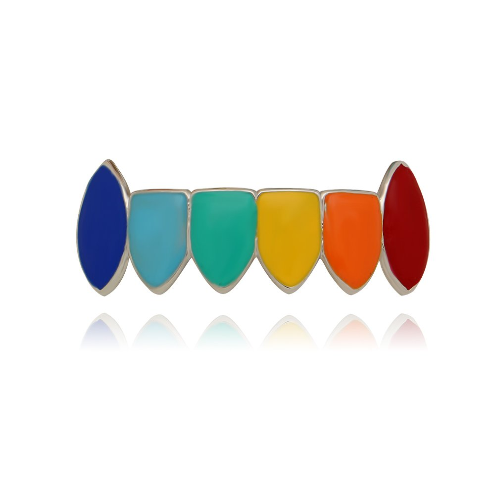 LuReen 14k Gold Silver Plated Rainbow Color Vampire Fangs Grillz Set + 2 Extra Molding Bars (Silver Bottom)