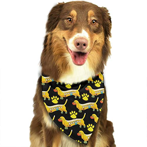 (OURFASHION Dachshund School Bus Bandana Triangle Bibs Scarfs Accessories for Pet Cats and Puppies.Size is About 27.6x11.8 Inches)