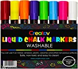 Liquid Chalk Markers Chalkboard Pens - 8 Pack Window Marker Chalk Pens For Blackboards Erasable Chalk Blackboard Pen Chalkboards Washable Wet Dry Erase Glass Markers Non Toxic Safe & Easy To Use: more info