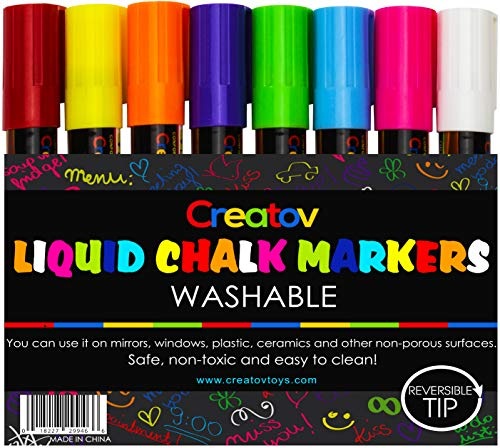 Liquid Chalk Markers Chalkboard Pens - 8 Pack Window Marker Chalk Pens For Blackboards Erasable Chalk Blackboard Pen Chalkboards Washable Wet Dry Erase Glass Markers Non Toxic Safe & Easy To Use]()