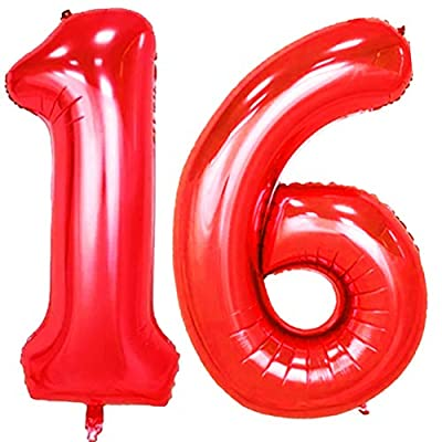 KEYYOOMY 40 in Number 16 Balloons Red for Sweet 16 Birthday Party Decorations: Toys & Games