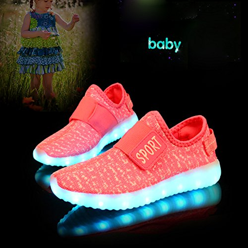 O&N Kid Boy Girl Upgraded USB Charging LED Light Sport Shoes Flashing Fashion Sneakers Pink