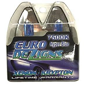 EuroDezigns H11b White/Blue Headlights - High Beam 7500k Xenon-Krypton HID Halogen Replacement Bulbs - (Pair)