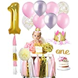 1ST BIRTHDAY GIRL Decorations Kit Baby First Party Decor Set One Cake Topper Gold Glitter Crown Balloons Highchair Hat Tutu