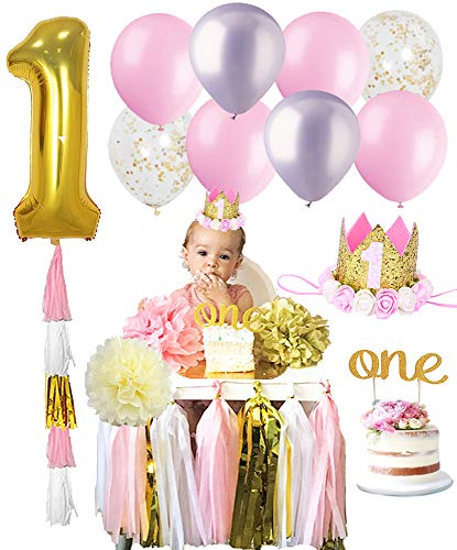 1ST BIRTHDAY GIRL Decorations Kit Baby First Party Decor Set One Cake Topper Gold Glitter Crown Balloons Highchair Hat -