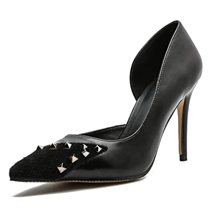 7ce51db2507 Amazon.com: Pointed Toe Stiletto Rivet High Heels for Women's Patent ...
