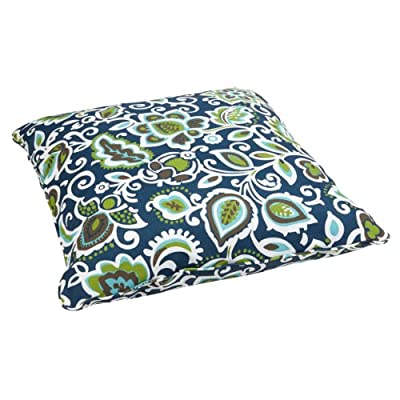 Mozaic AZPS2070 Indoor Outdoor Square Floor Pillow with Corded Edges, 26 x 26, Navy/multi : Garden & Outdoor