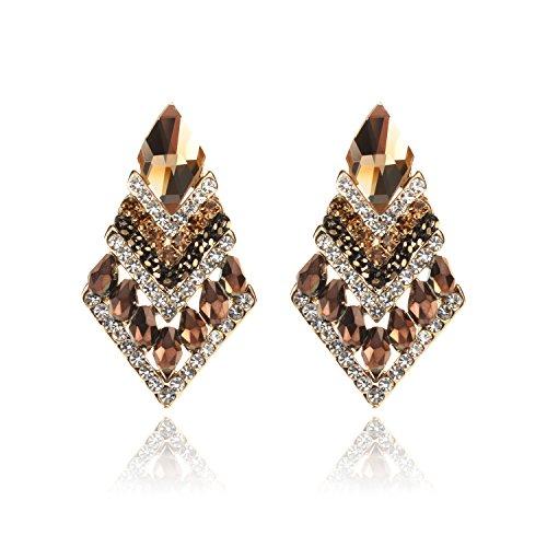 Pink Stardust Princess Costumes (TAGOO Rhombus Design Crystal Stud Earrings Sets for Women&Girls Wedding/Banquet/Dailywear (Gold Plated Coffee Rhinestone Rhombus Design 1.41