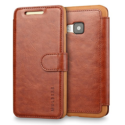 M9 Case,HTC One M9 Case Wallet,Mulbess [Layered Dandy][Vintage Series][Coffee Brown] - [Ultra Slim][Wallet Case] - Leather Flip Cover with Credit Card Slot for HTC One M9