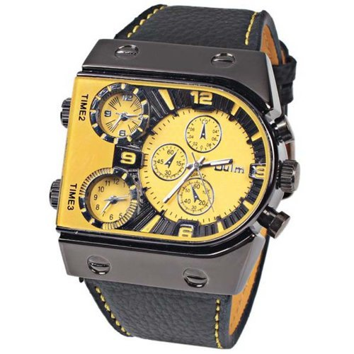 Oulm Sports Multiple Time Zone Quartz Watch Boat Nails Military Watches Mens Wristwatches Sub Dials Decoration Yellow