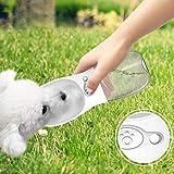 Kecar Pet Dog Water Bottle Travel Outdoor Walking, Portable Drinking Dispenser Bottle, Leak Proof Water Dispenser, Dog Cat Travel Water Cup Bowl (White)