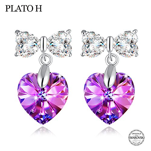 Bow Tie Earring PLATO H 925 Sterling Silver Heart Butterfly Earrings with Swarovski Crystals Heart Stud Earrings Romantic Gift for Her, Purple (Created Purple Sapphire)