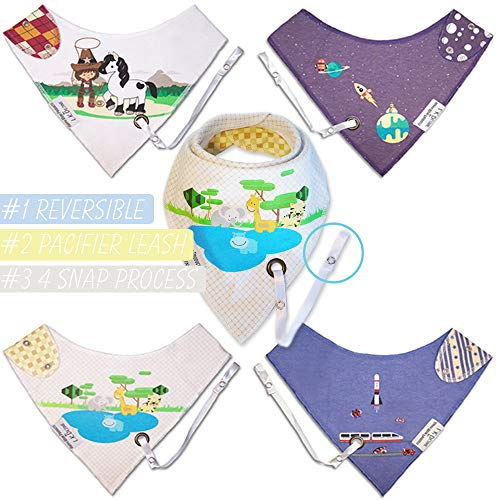 Reversible Bandana Drool Bibs w/Leash for Pacifier/Teether Boys Set Infant-Toddler