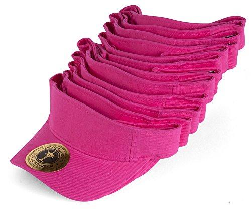 TOP HEADWEAR Blank Adjustable Visors - 12-Pack - Hot Pink -