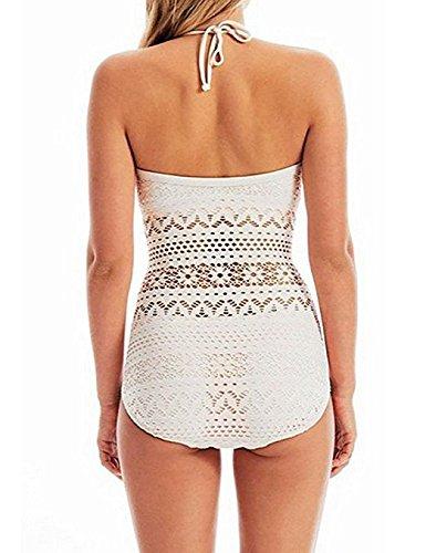 Sexi Mujer Bañador IHRKleid® Una Pieza Trajes de Baño Bikini Crochet para Playa Blanco