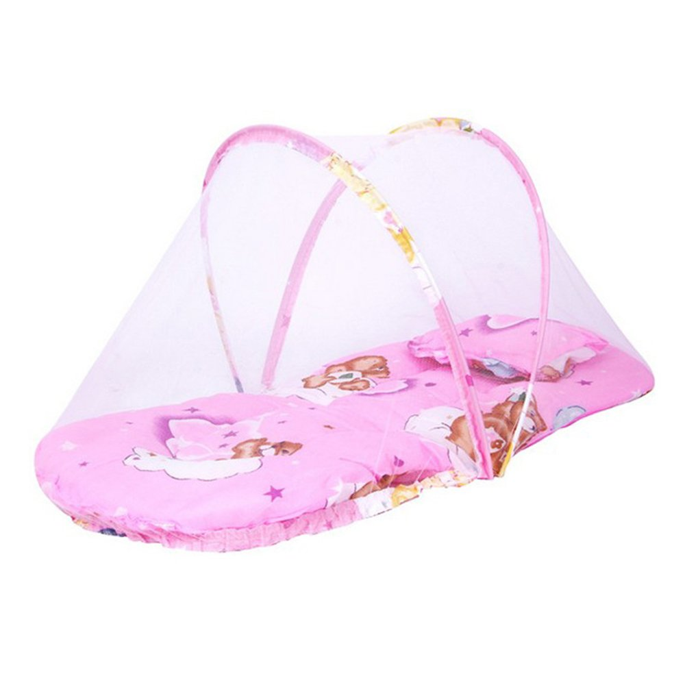 Large Baby Portable Folding Mosquito Net Free Installation with Sleeping Mat Pillow Super Soft Baby Mosquito Net Cradles, Pink
