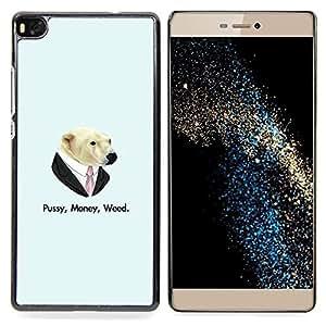 """Qstar Arte & diseño plástico duro Fundas Cover Cubre Hard Case Cover para Huawei Ascend P8 (Not for P8 Lite) (Coño Money Weed Oso"""")"""