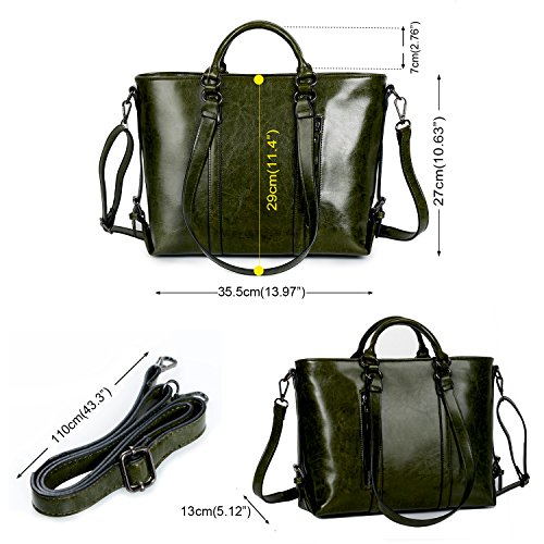 IYGO Leather Tote Bag for Women, Leather Top-Handle Shoulder HandBag Tote Bag Waterproof Crossbody Bag by IYGO (Image #1)