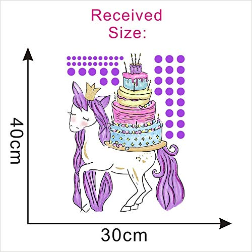 1 piece Magic Unicorn Horse With Birthday Cake Wall Sticker For Kids Rooms Purple Pots Wall Decals Poster Party Background Wall Decor