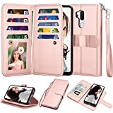 Njjex For LG G7 ThinQ Wallet Case, For LG G7 Case, Luxury PU Leather [9 Card Slots] ID Credit Folio Flip [Detachable] [Kickstand] Magnetic Closure Phone Cover & Wrist Strap For LG G7 ThinQ [Rose Gold]
