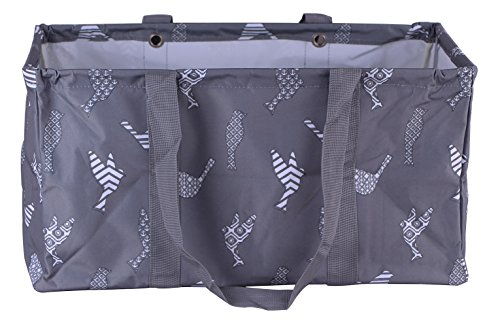 Wireframe Collapsible All Purpose Large Utility Tote Bag, Easy Wipe Clean with Sturdy Handles (Gray Birds) (Car Tote)