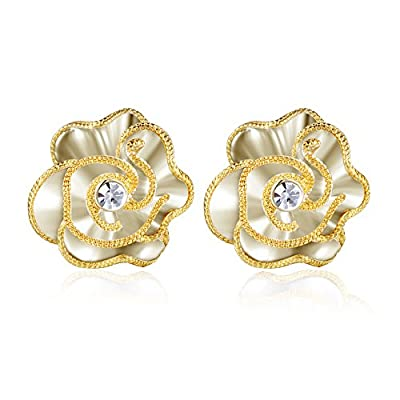 XZP Fashion Flower Design Gold Plated Clip-on Earrings for Women Jewelry