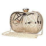 CLOCOLOR Exquisite Leather Metal Hollow Designer Clutch Bag Evening Handbags Water Cube Purse Women Evening Clutch Bag