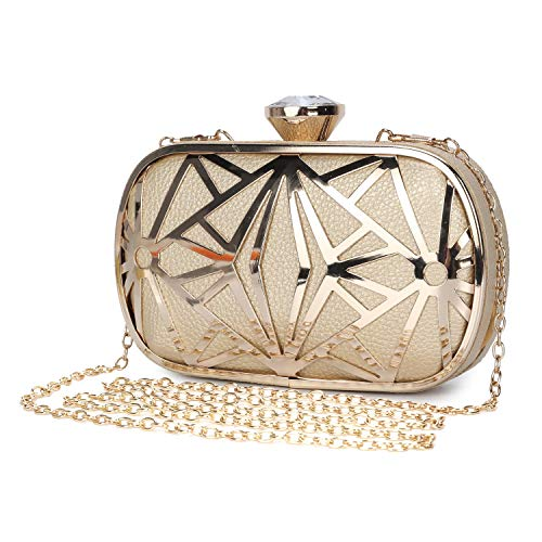CLOCOLOR Exquisite Leather Metal Hollow Designer Clutch Bag Evening Handbags Water Cube Purse Women Evening Clutch Bag by Clocolor