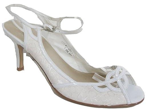 7bddd0072afd GRACELAND - Ivory White Satin Peep Toe Sling Back Sandals - UK 8 ...