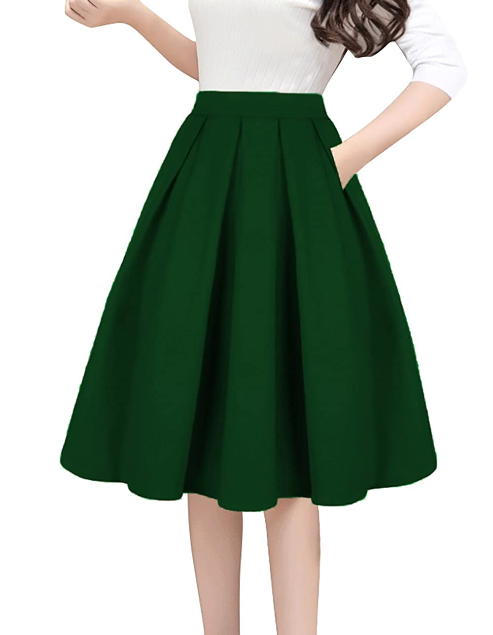 Green Tandisk Women's Vintage Aline Printed Pleated Flared Midi Skirts with Pockets