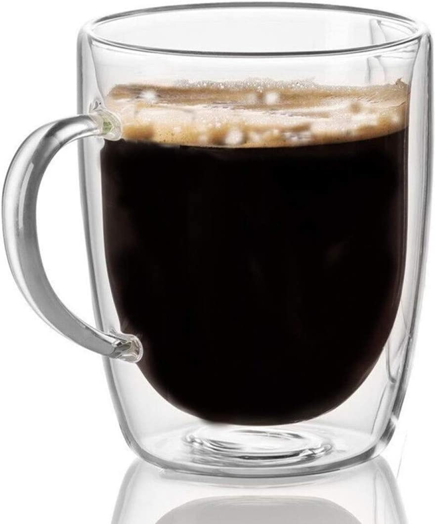 Cooko Cristal Vidrio de Café de Doble Pared, Tazas de Café Resistentes al Calor, Alta Tazas Borosilicato con Mango Para Té, Latte, Leche, Cappuccino, Jugo,350ml Juego de 1