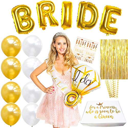 Premium Classy Bachelorette Party Favors Bundle! Bachelorette Party Decorations Gold and White Bridal Shower Decorations - Bride to Be Sash + Tiara + Bride To Be Balloons + Bride Tribe Tattoos + More