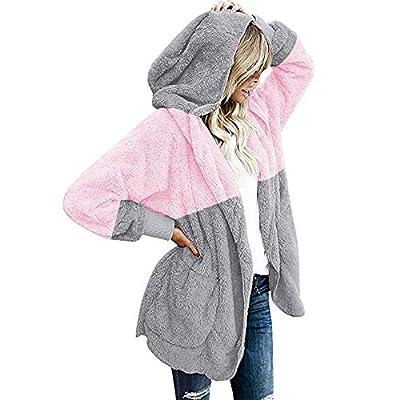 XOWRTE Women's Coat Winter Oversized Open Front Hooded Jacket Draped Pockets Overcoat Outwear