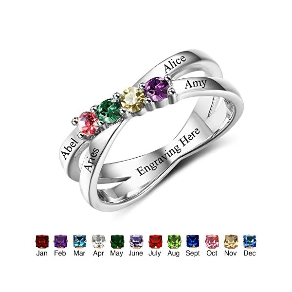 Design your own mothers rings with birthstones and engraving