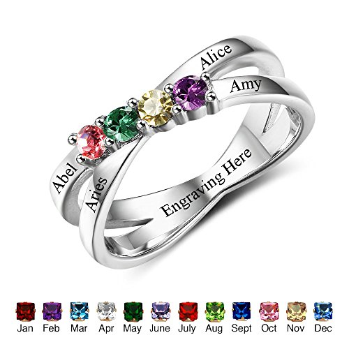 Design Your own Mothers Rings with Children Sumilated Birthstones Names Family Jewelry Mother's Day Gift (Mothers Name Birthstone Rings)